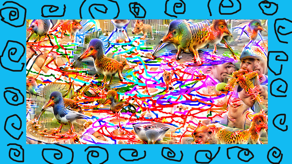 Bird like creatures in a field of strong colors and with a blue frame with rose like doodles