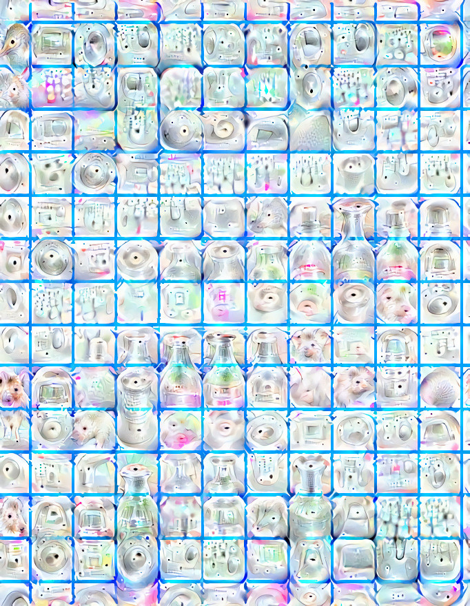 Whitish picture with a blue grid and psychedelic shapes emerging from the background