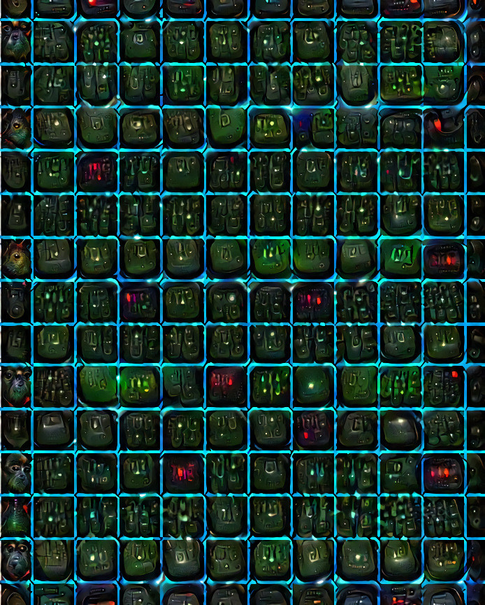 Black green picture with a blue grid and psychedelic shapes emerging from the background