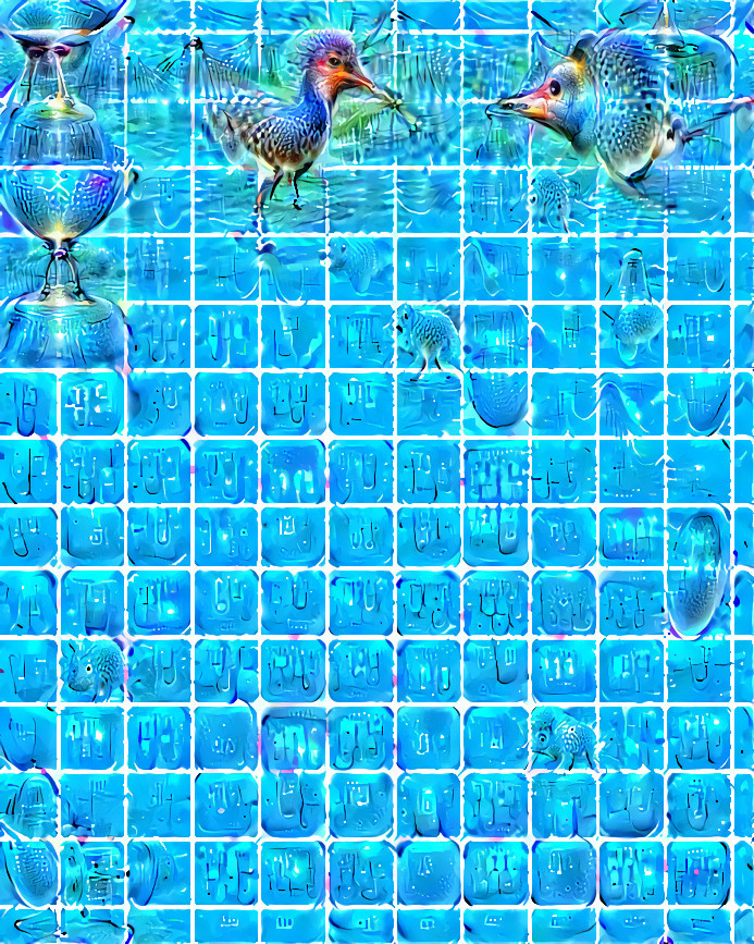 Bluish picture with a blue grid and psychedelic shapes emerging from the background